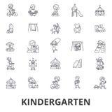 Kindergarten, preschool, teacher, nursery, playground, daycare, kids playing line icons. Editable strokes. Flat design. Vector illustration symbol concept vector illustration