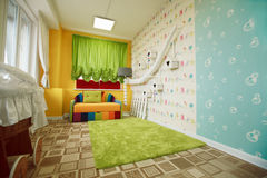 Kindergarten room decorated with colorful sofa. Stock Image