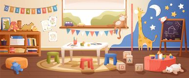 Kindergarten room interior flat vector illustration. Cozy playroom with cute children paintings on wall, furniture and