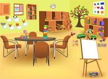 Kindergarten room with lots of educational stuff Royalty Free Stock Images