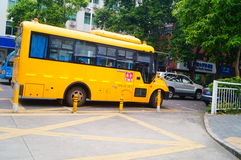 Kindergarten school bus Stock Photo