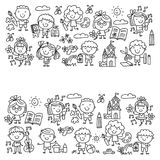 Kindergarten School Education Study Children Play and grow Kids drawing icons Stock Image