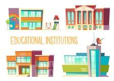 Kindergarten, school, state and science university. Educational institutions set, kindergarten, school, state and science university buildings front view vector illustration