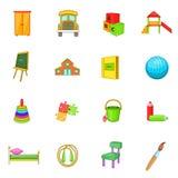 Kindergarten security icons set, cartoon style Royalty Free Stock Photo