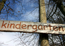 Kindergarten sign. Sign of an outdoor kindergarten in Germany royalty free stock photo