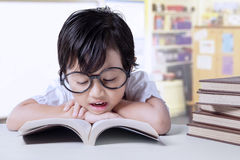 Kindergarten student reads textbooks Stock Image