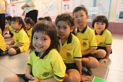 Kindergarten students smiling Stock Photography