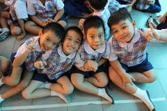 Kindergarten students smiling Royalty Free Stock Photo