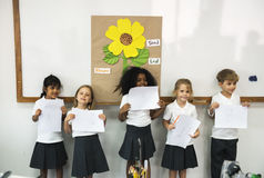 Kindergarten students standing presenting Royalty Free Stock Photos