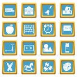 Kindergarten symbol icons azure Royalty Free Stock Image