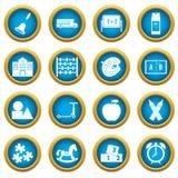 Kindergarten symbol icons blue circle set Royalty Free Stock Photo