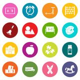 Kindergarten symbol icons many colors set Royalty Free Stock Photos