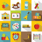 Kindergarten symbol icons set, flat style. Kindergarten symbol icons set. Flat illustration of 16 kindergarten symbol vector icons for web Royalty Free Stock Image