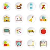 Kindergarten symbol icons set in flat style Stock Images