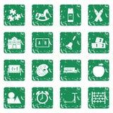 Kindergarten symbol icons set grunge Royalty Free Stock Image