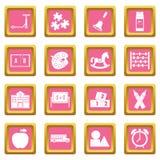 Kindergarten symbol icons pink Royalty Free Stock Photos