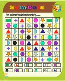 Kindergarten symbol work.geometric shapes.Sudoku for kids with colorful geometric figures. Game for preschool kids, training logic vector illustration