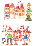 Kindergarten with teacher cartoon hand drawn, winter with snowman seasons isolated on white background, girl, boy. stock illustration