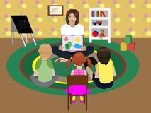 Kindergarten teacher. Shows the children the pictures in the book vector illustration