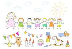 Kindergarten teacher walking outdoor with kids holding hands. Vector illustration with happy pupils and teacher. Kindergarten teacher walking outdoor with kids royalty free illustration