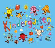 Kindergarten unique hand lettering illustration banner stock illustration