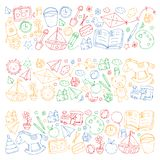 Kindergarten Vector pattern with toys and items for education. Kindergarten Vector pattern with toys and items for education stock illustration