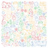 Kindergarten Vector pattern with toys and items for education. Kindergarten Vector pattern with toys and items for education vector illustration
