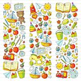 Kindergarten Vector pattern with toys and items for education. Kindergarten Vector pattern with toys and items for education royalty free illustration