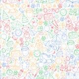 Kindergarten Vector seamless pattern with toys and items for education. Kindergarten Vector seamless pattern with toys and items for education stock illustration