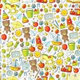 Kindergarten Vector seamless pattern with toys and items for education. Kindergarten Vector seamless pattern with toys and items for education royalty free illustration
