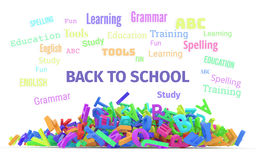 Kindergarten word cloud, stack of alphabets. Stock Photography