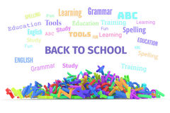 Kindergarten word cloud, stack of alphabets. Back to school conceptual word cloud with stack of colorful alphabets letters from A to Z for education or learning Royalty Free Stock Photography