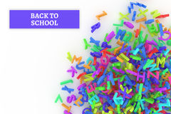 Kindergarten word cloud, stack of alphabets. Back to school conceptual with stack of colorful alphabets letters from A to Z for education or learning, isolated Stock Photo