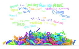 Kindergarten word cloud, stack of alphabets. Word cloud with stack of colorful alphabets letters from A to Z for education or learning conceptual, isolated on Royalty Free Stock Image
