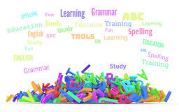 Kindergarten word cloud, stack of alphabets. Word cloud with stack of colorful alphabets letters from A to Z for education or learning conceptual, isolated on Stock Images