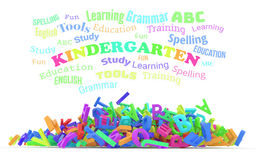 Kindergarten word cloud, stack of alphabets. Royalty Free Stock Image