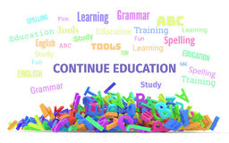 Kindergarten word cloud, stack of alphabets. Continue education conceptual word cloud with stack of colorful alphabets letters from A to Z for learning Stock Photo