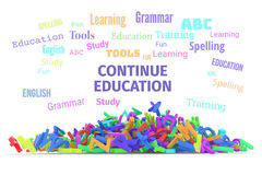 Kindergarten word cloud, stack of alphabets. Continue education conceptual word cloud with stack of colorful alphabets letters from A to Z for learning Royalty Free Stock Photo