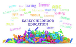 Kindergarten word cloud, stack of alphabets. Early childhood education conceptual word cloud with stack of colorful alphabets letters from A to Z, isolated on Royalty Free Stock Photo