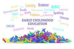 Kindergarten word cloud, stack of alphabets. Early childhood education conceptual word cloud with stack of colorful alphabets letters from A to Z, isolated on Stock Image