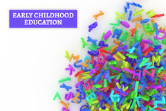 Kindergarten word cloud, stack of alphabets. Early childhood education conceptual with stack of colorful alphabets letters from A to Z, isolated on white Royalty Free Stock Photography