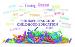 Kindergarten word cloud, stack of alphabets. The importance of childhood education conceptual word cloud with stack of colorful alphabets letters from A to Z Royalty Free Stock Photography