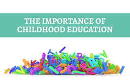 Kindergarten word cloud, stack of alphabets. The importance of childhood education conceptual with stack of colorful alphabets letters from A to Z, isolated on Royalty Free Stock Photography