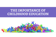 Kindergarten word cloud, stack of alphabets. The importance of childhood education conceptual with stack of colorful alphabets letters from A to Z, isolated on Stock Photos