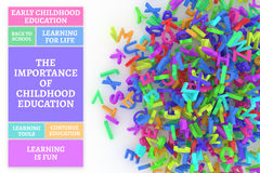 Kindergarten word cloud, stack of alphabets. The importance of childhood education conceptual word cloud with stack of colorful alphabets letters from A to Z Royalty Free Stock Photos
