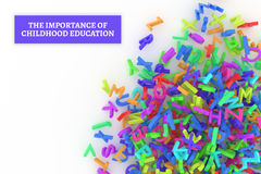 Kindergarten word cloud, stack of alphabets. The importance of childhood education conceptual with stack of colorful alphabets letters from A to Z, isolated on Stock Photography
