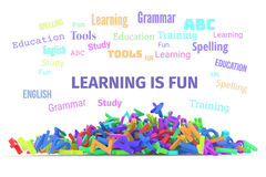 Kindergarten word cloud, stack of alphabets. Learning is fun conceptual word cloud with stack of colorful alphabets letters from A to Z for education, isolated Stock Images