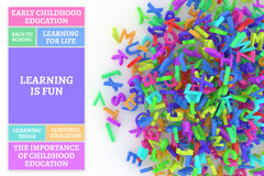 Kindergarten word cloud, stack of alphabets. Learning is fun conceptual word cloud with stack of colorful alphabets letters from A to Z for education, isolated Royalty Free Stock Photography
