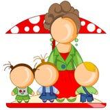 Kindergartener with children Royalty Free Stock Images