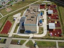 Kindergartengebäude, eine Draufsicht Stockfotografie
